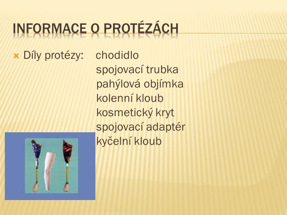 Informace o protézách Díly protézy: chodidlo spojovací trubka