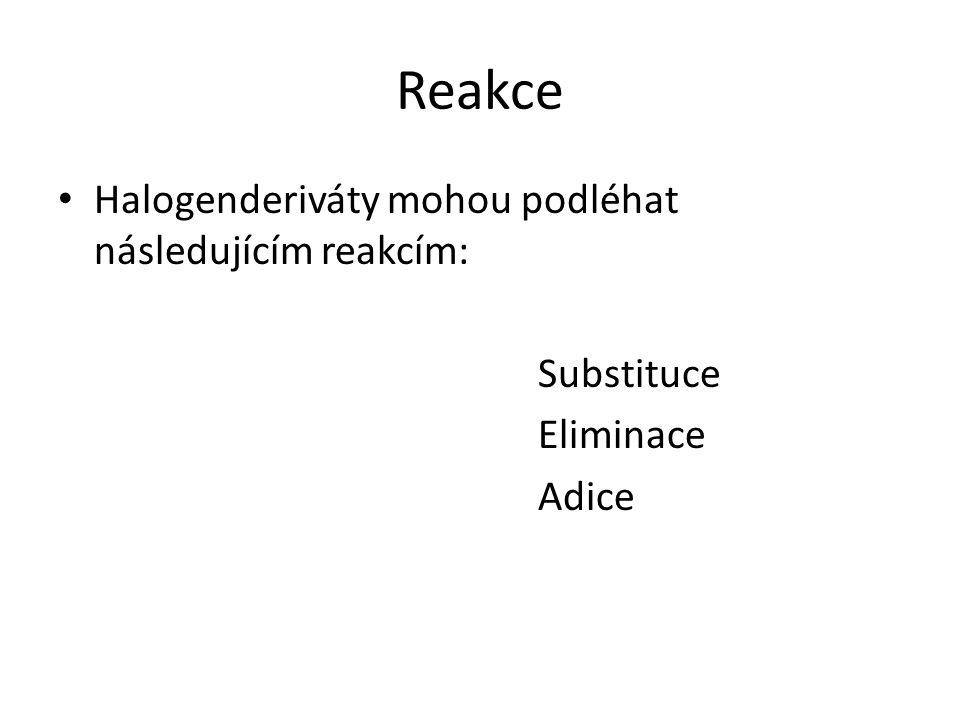 Reakce Halogenderiváty mohou podléhat následujícím reakcím: Substituce