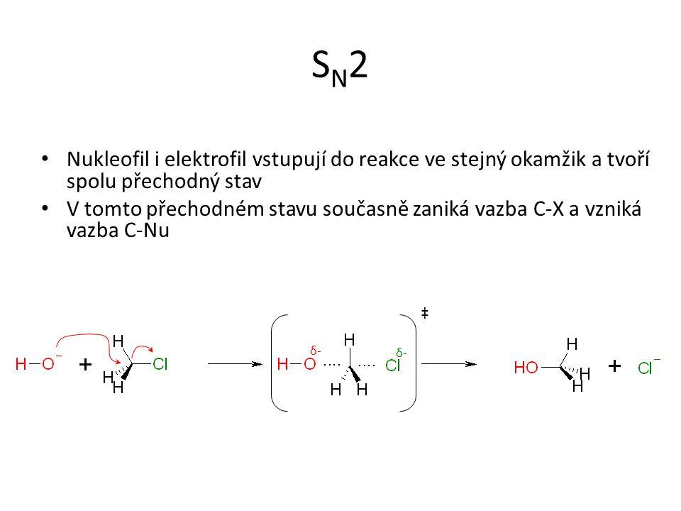 SN2 Nukleofil i elektrofil vstupují do reakce ve stejný okamžik a tvoří spolu přechodný stav.