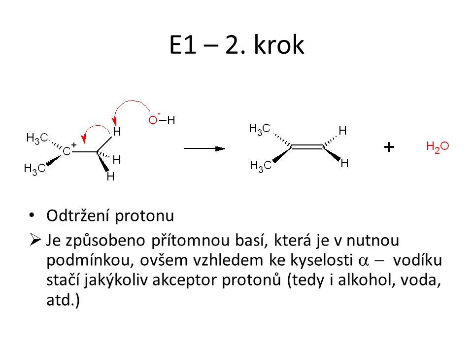 E1 – 2. krok Odtržení protonu
