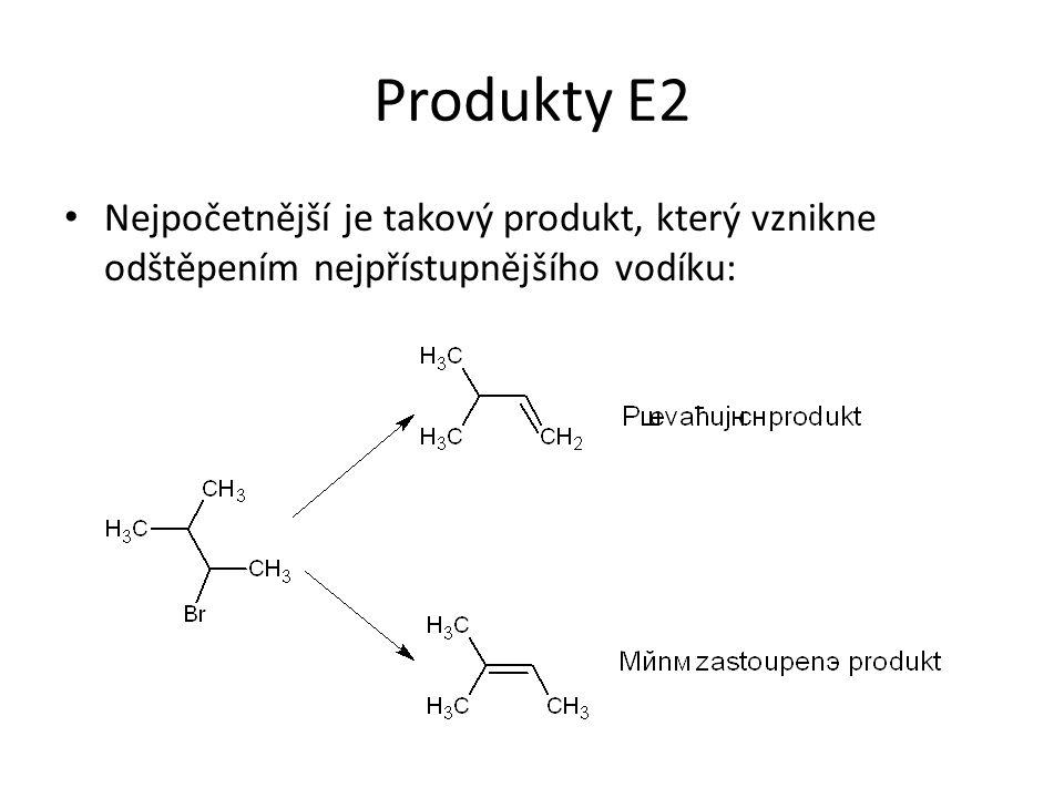 Produkty E2 Nejpočetnější je takový produkt, který vznikne odštěpením nejpřístupnějšího vodíku: