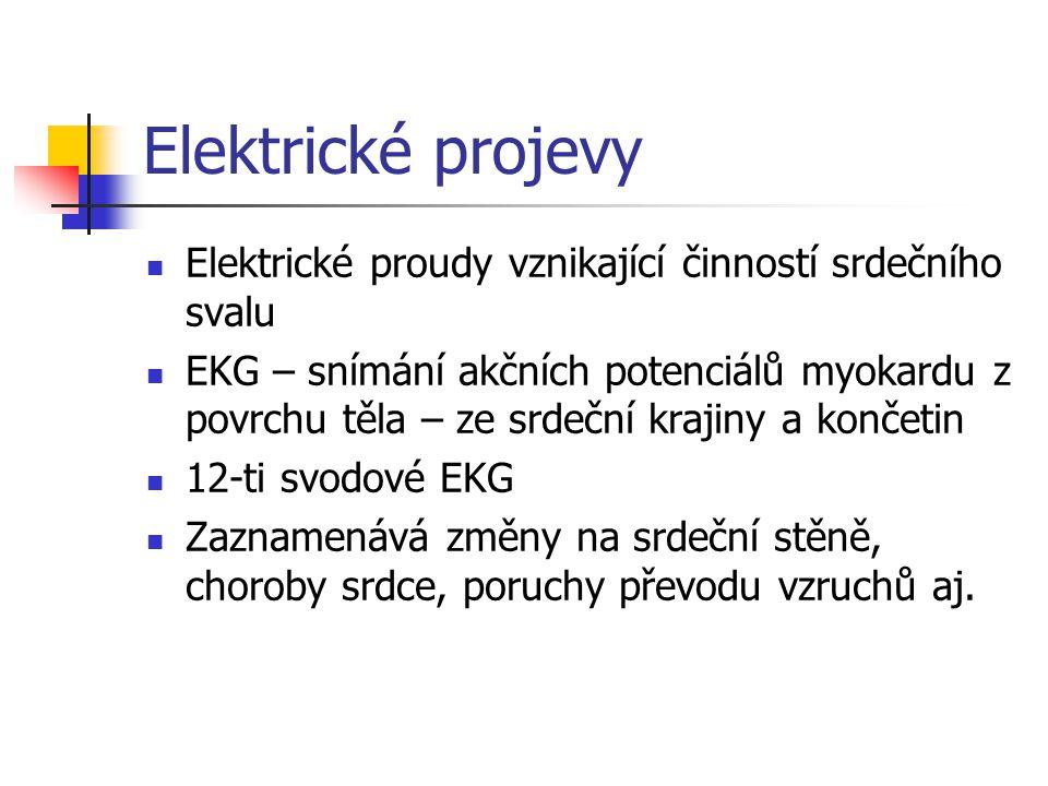 Elektrické projevy Elektrické proudy vznikající činností srdečního svalu.