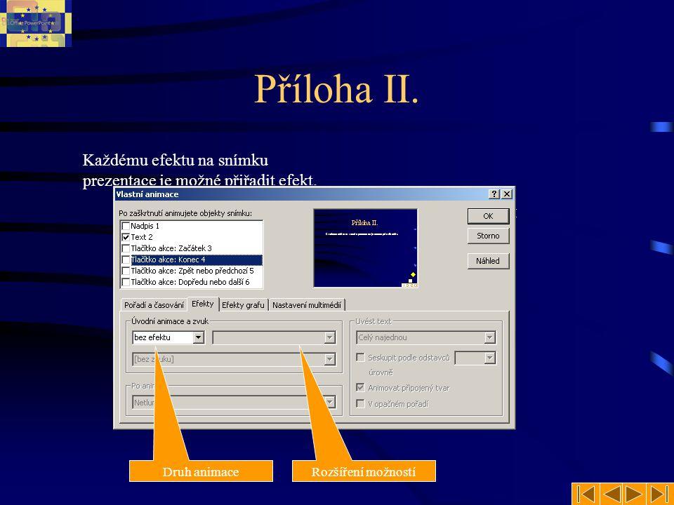Příloha II. Každému efektu na snímku prezentace je možné přiřadit efekt.