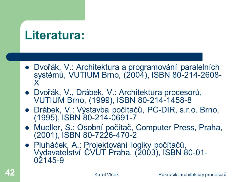 Pokročilé architektury procesorů