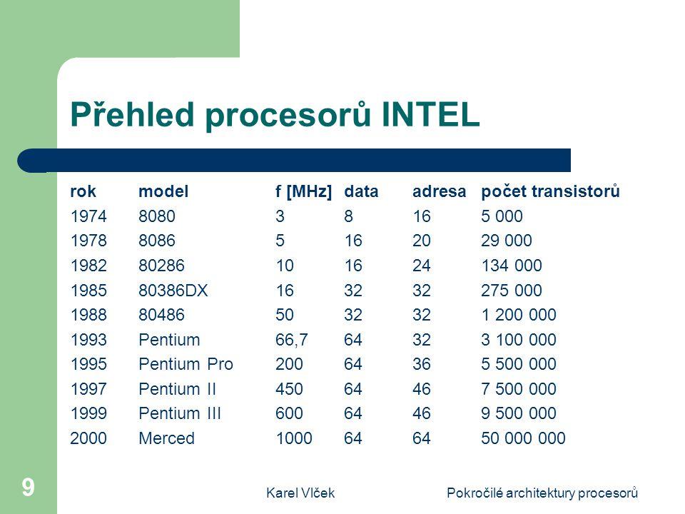 Přehled procesorů INTEL