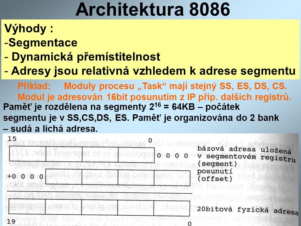 Architektura 8086 Výhody : Segmentace Dynamická přemístitelnost