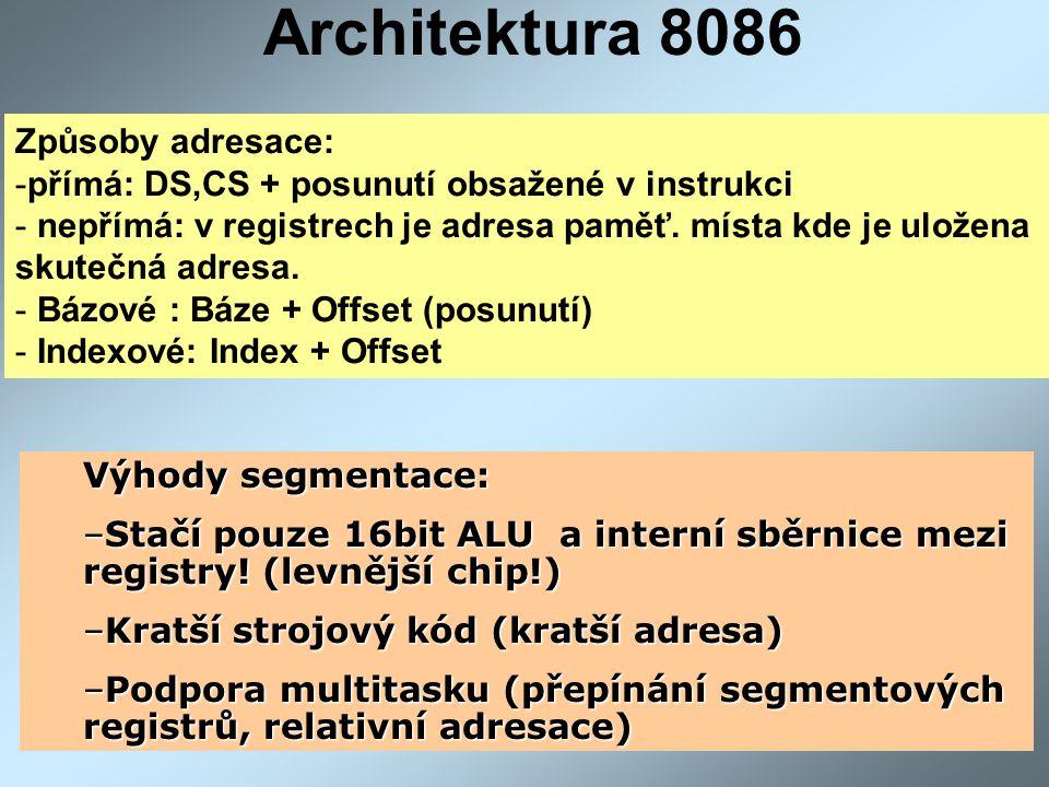 Architektura 8086 Způsoby adresace: