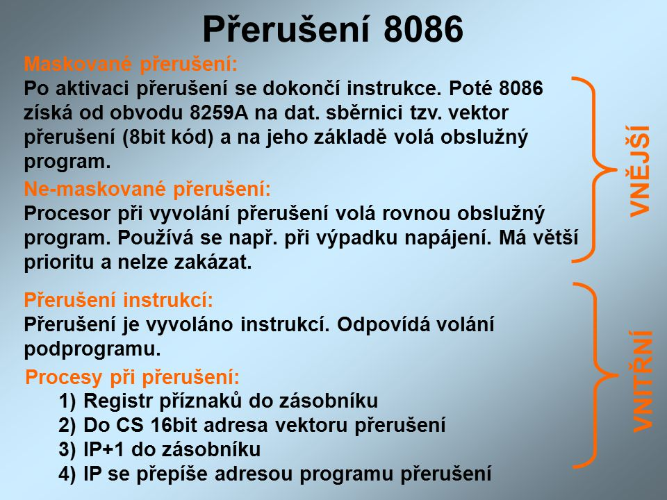 Přerušení 8086 VNĚJŠÍ VNITŘNÍ Maskované přerušení: