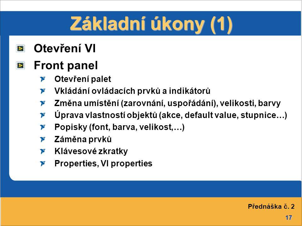 Základní úkony (1) Otevření VI Front panel Otevření palet