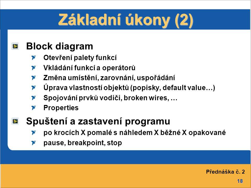 Základní úkony (2) Block diagram Spuštení a zastavení programu