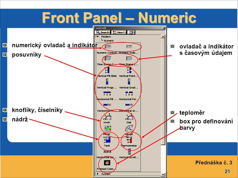 Front Panel – Numeric numerický ovladač a indikátor