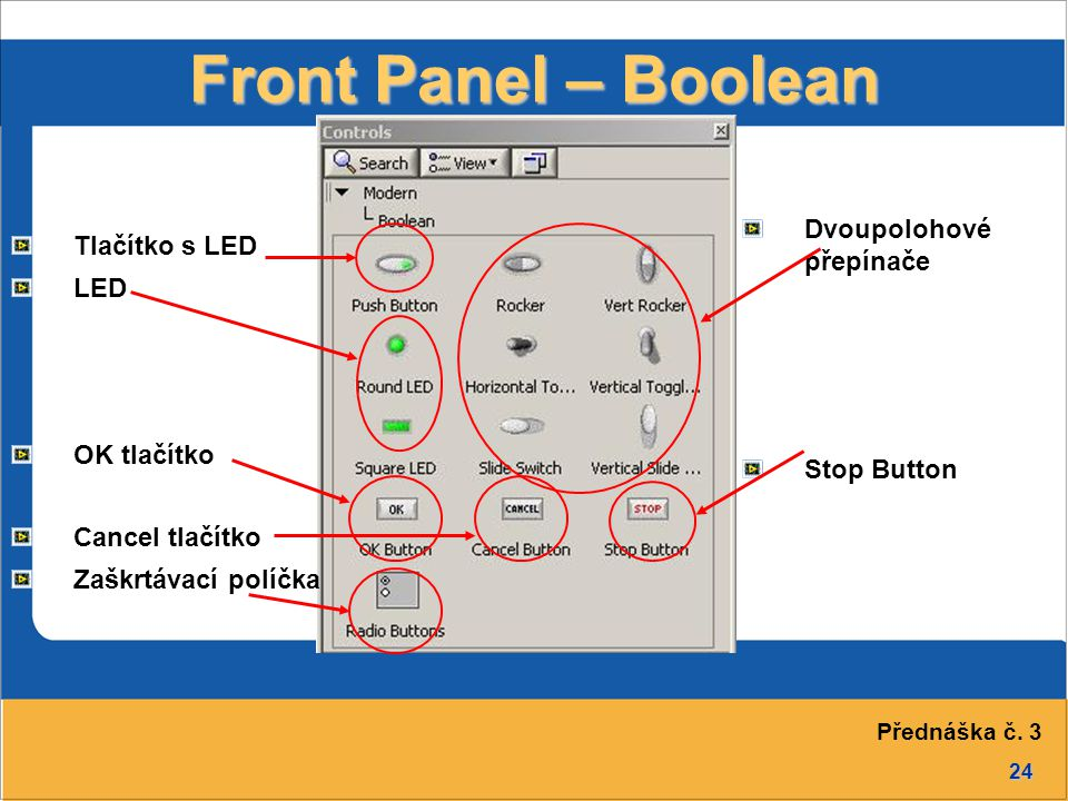 Front Panel – Boolean Dvoupolohové přepínače Stop Button