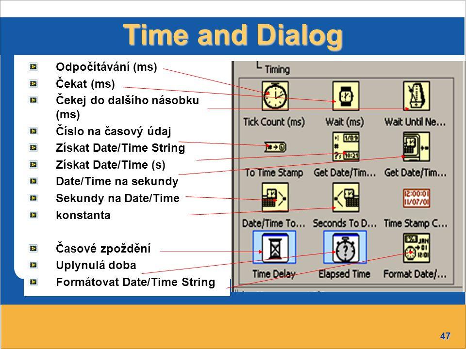Time and Dialog Odpočítávání (ms) Čekat (ms)