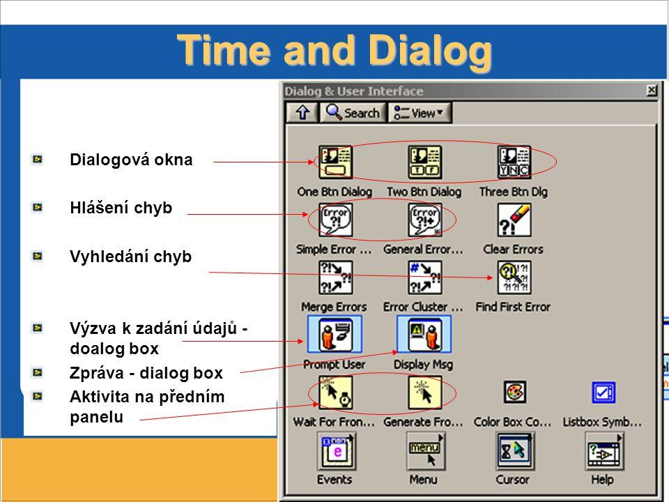 Time and Dialog Dialogová okna Hlášení chyb Vyhledání chyb