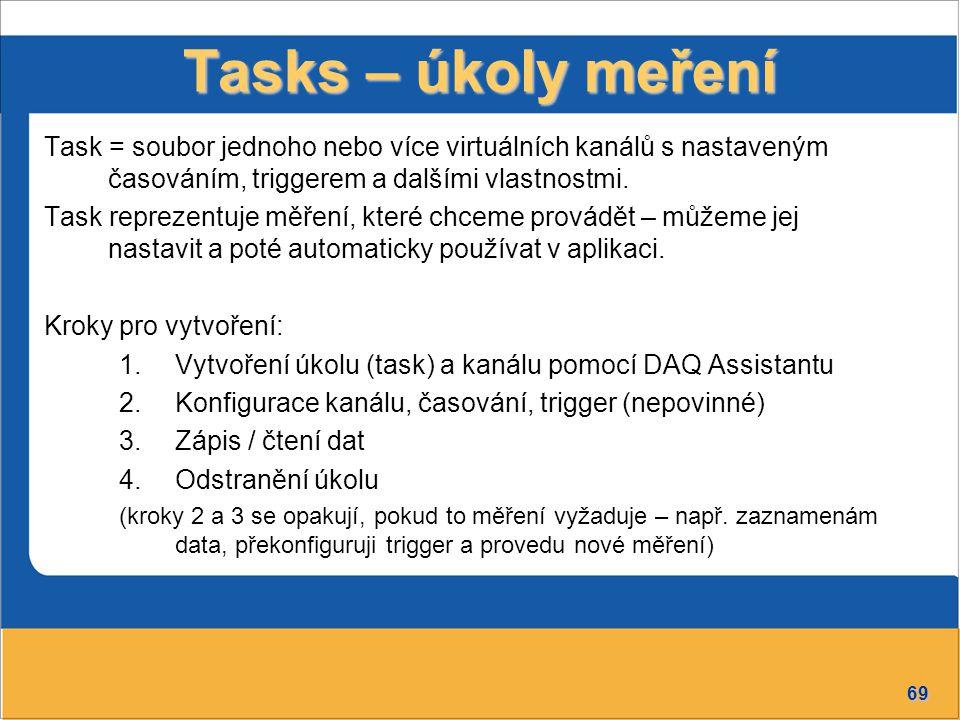 Tasks – úkoly meření Task = soubor jednoho nebo více virtuálních kanálů s nastaveným časováním, triggerem a dalšími vlastnostmi.