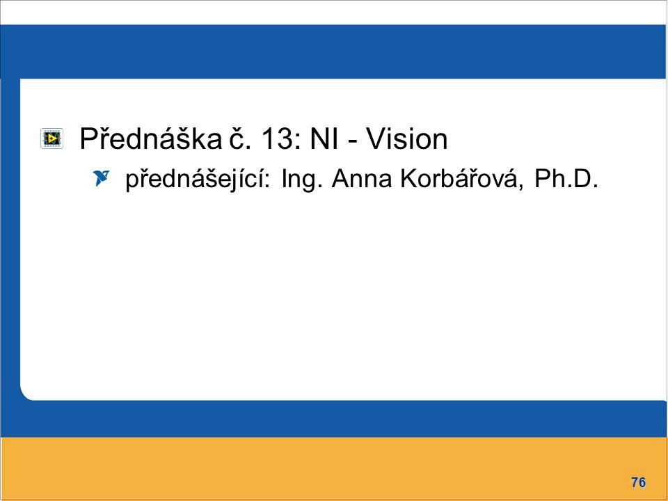 Přednáška č. 13: NI - Vision