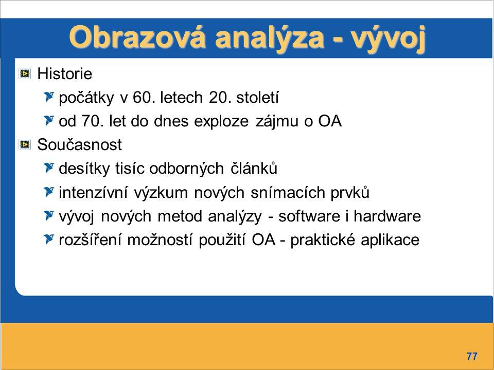 Obrazová analýza - vývoj