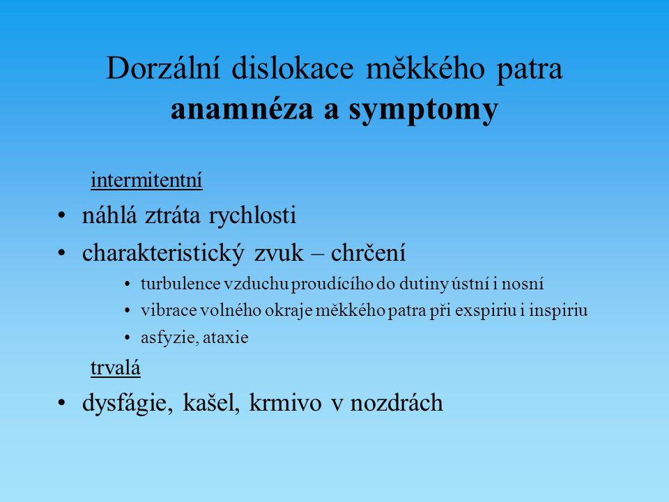 Dorzální dislokace měkkého patra anamnéza a symptomy