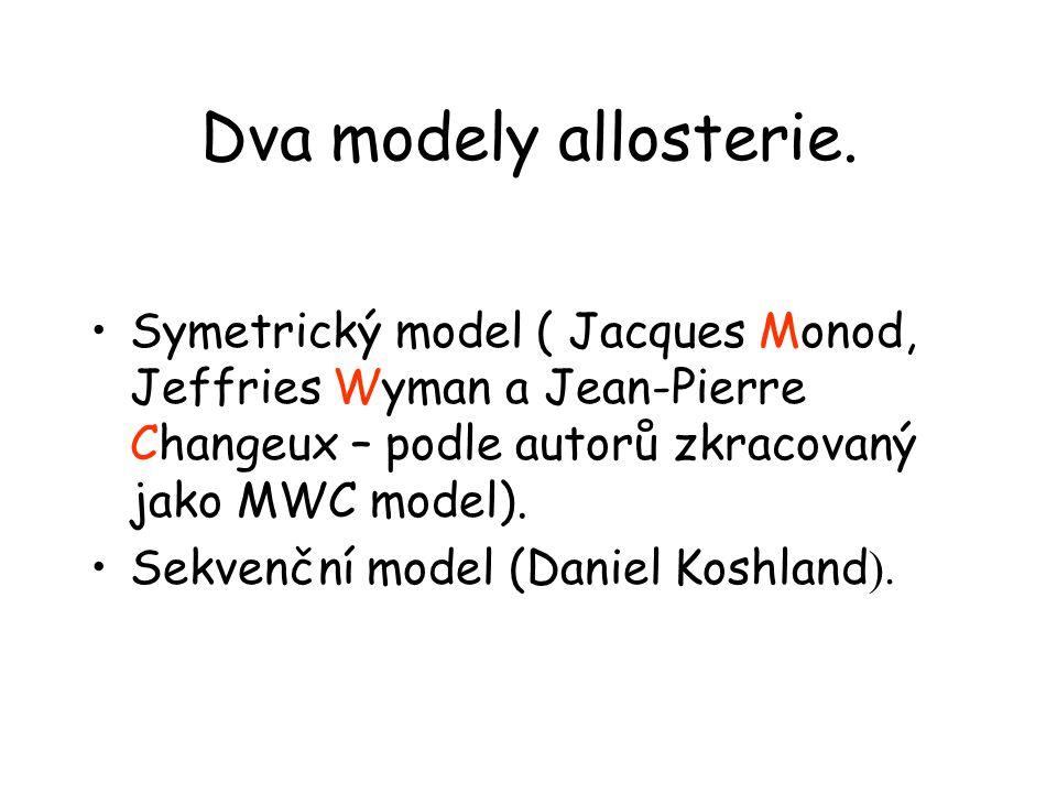Dva modely allosterie. Symetrický model ( Jacques Monod, Jeffries Wyman a Jean-Pierre Changeux – podle autorů zkracovaný jako MWC model).