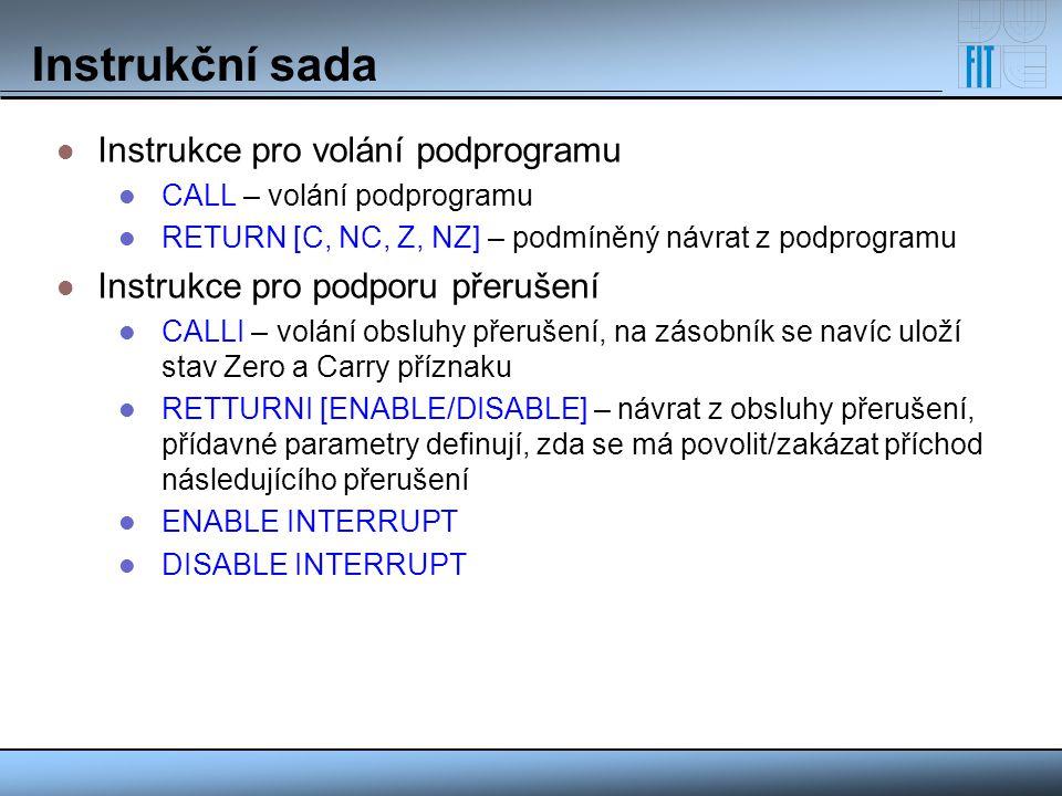 Instrukční sada Instrukce pro volání podprogramu