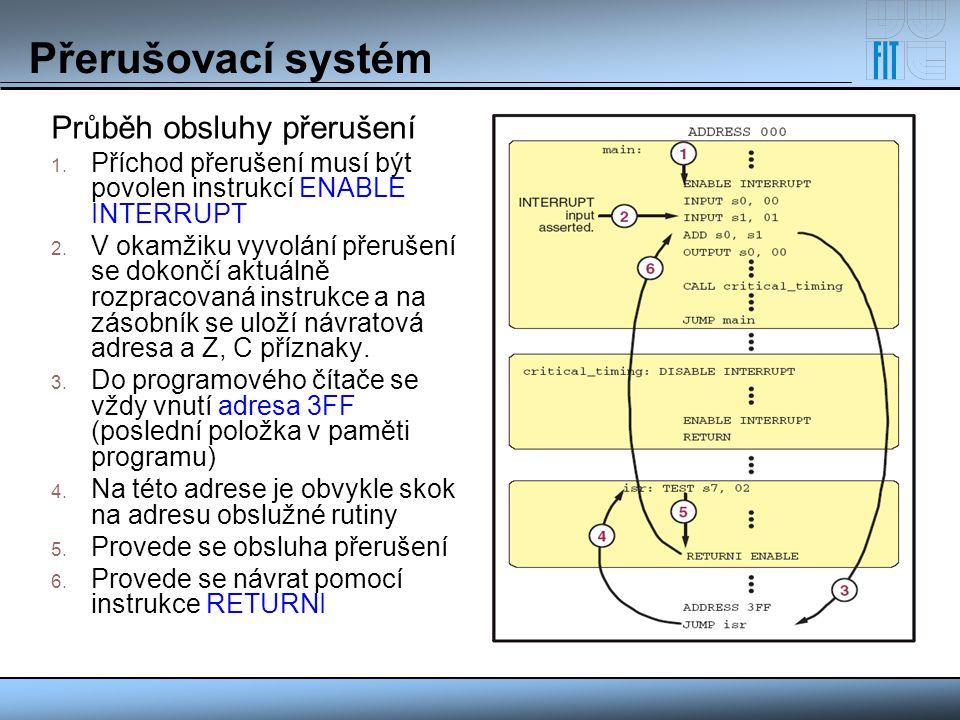 Přerušovací systém Průběh obsluhy přerušení