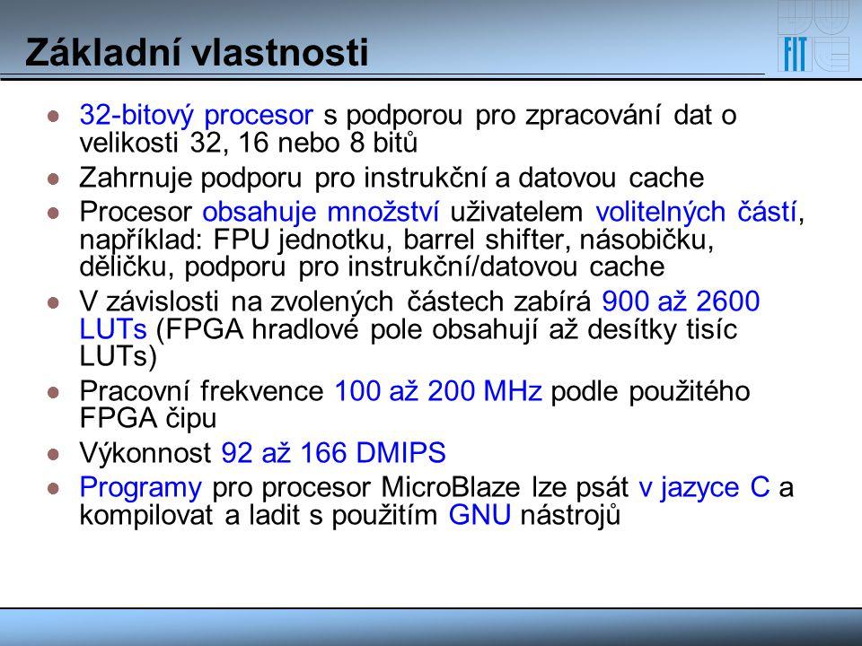 Základní vlastnosti 32-bitový procesor s podporou pro zpracování dat o velikosti 32, 16 nebo 8 bitů.