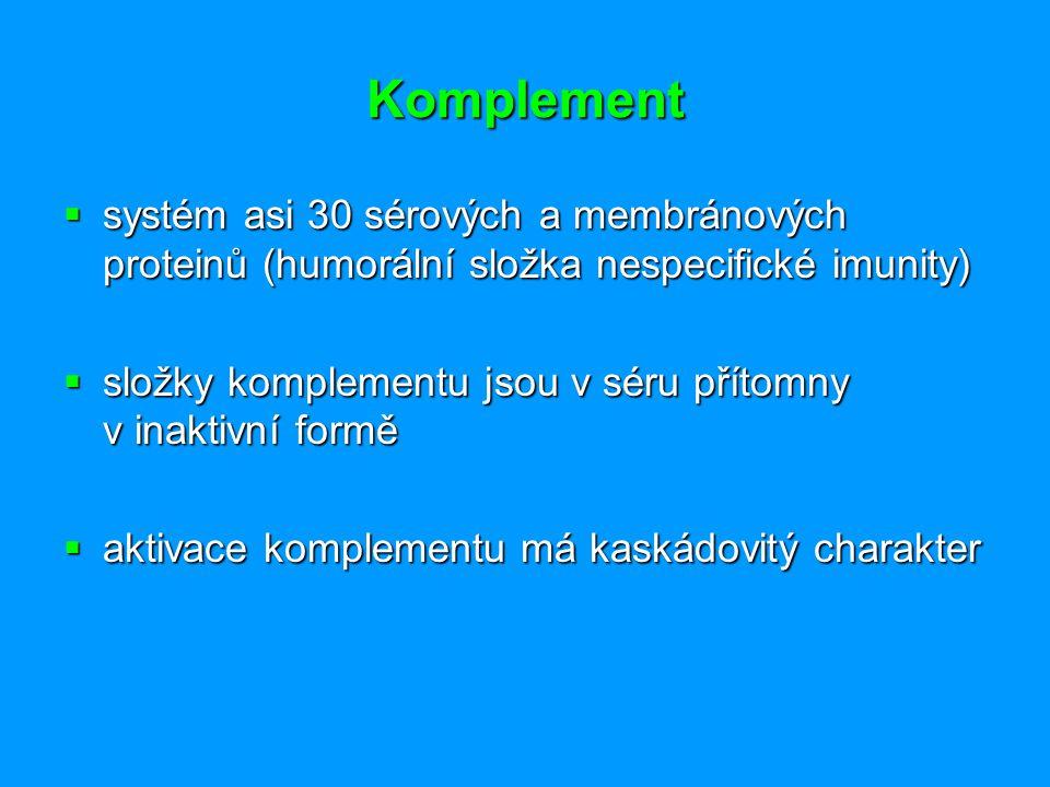 Komplement systém asi 30 sérových a membránových proteinů (humorální složka nespecifické imunity)