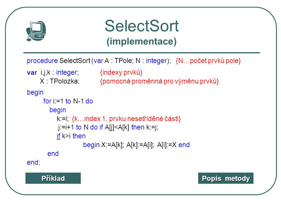 SelectSort (implementace)