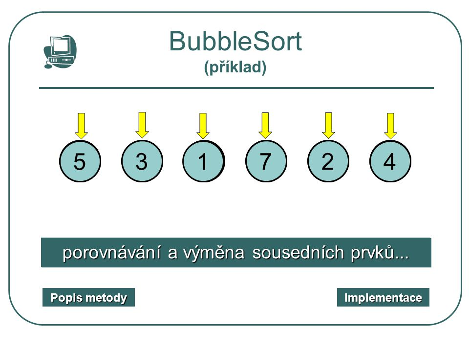 BubbleSort (příklad) 5. 1. 3. 2. 1. 3. 7. 4. 2. 5. 7. 4. porovnávání a výměna sousedních prvků...
