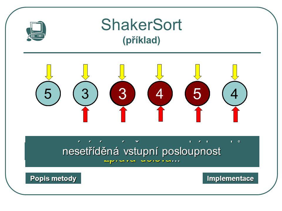 ShakerSort (příklad) 5. 1. 3. 2. 1. 3. 7. 4. 2. 5. 7. 4. porovnávání a výměna sousedních prvků zleva doprava ...