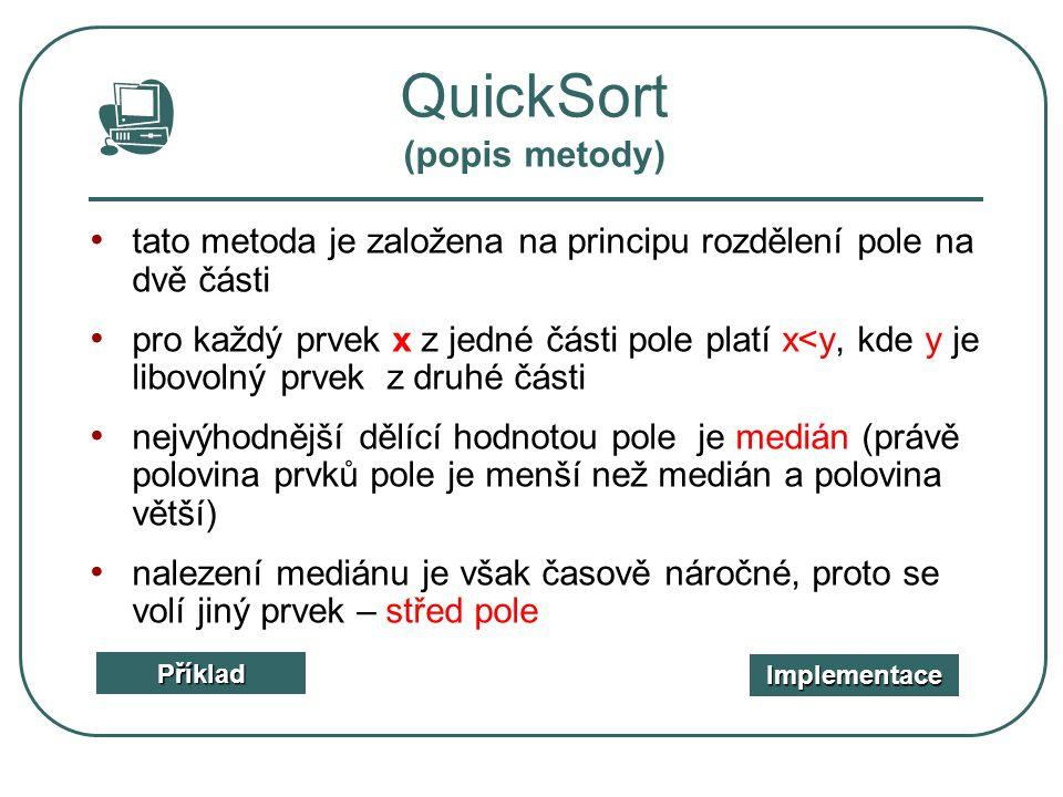 QuickSort (popis metody)