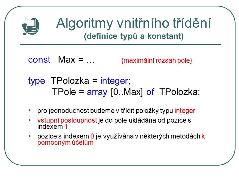 Algoritmy vnitřního třídění (definice typů a konstant)