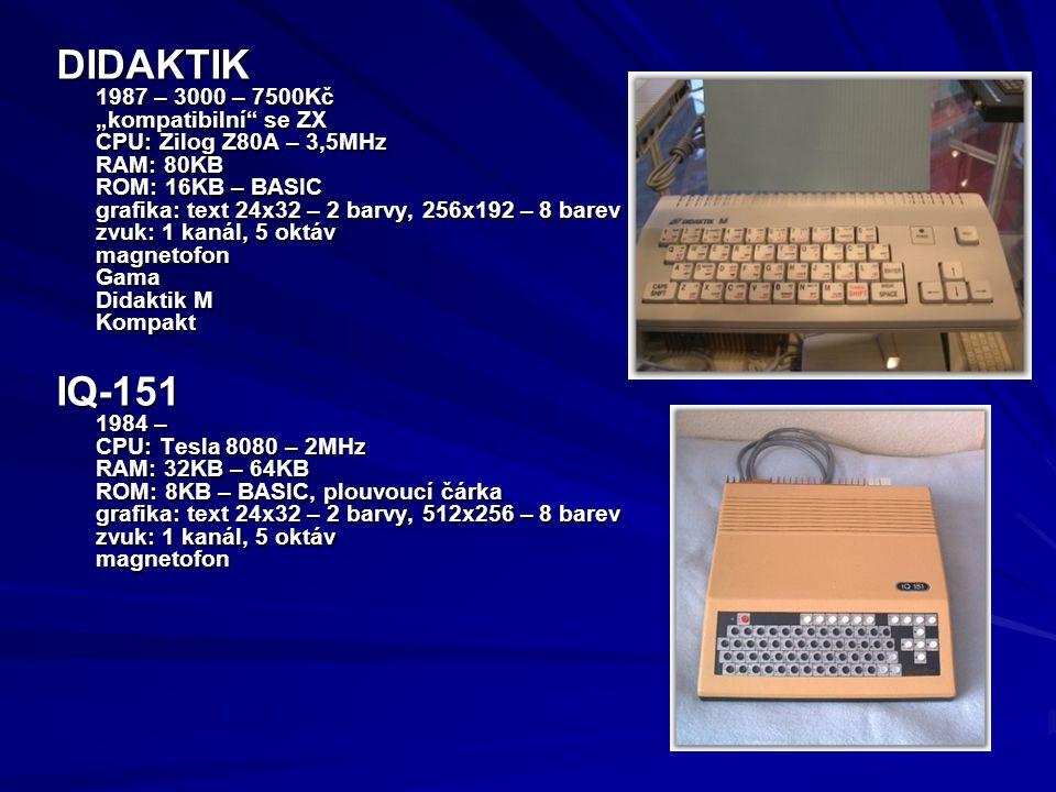 """DIDAKTIK IQ-151 1987 – 3000 – 7500Kč """"kompatibilní se ZX"""