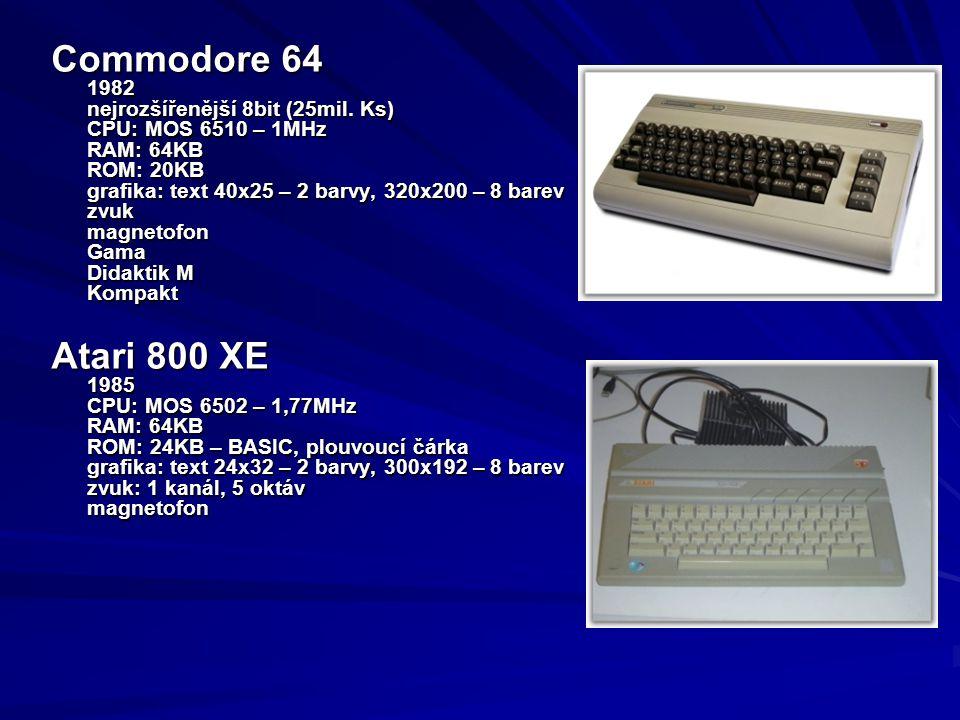 Commodore 64 Atari 800 XE 1982 nejrozšířenější 8bit (25mil. Ks)