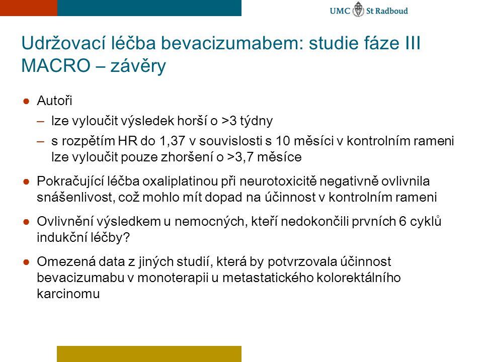 Udržovací léčba bevacizumabem: studie fáze III MACRO – závěry