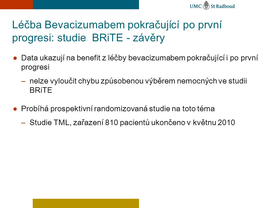Léčba Bevacizumabem pokračující po první progresi: studie BRiTE - závěry