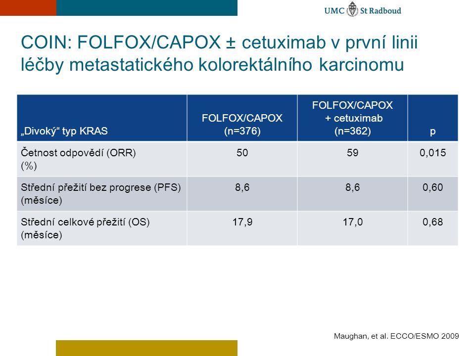 COIN: FOLFOX/CAPOX ± cetuximab v první linii léčby metastatického kolorektálního karcinomu