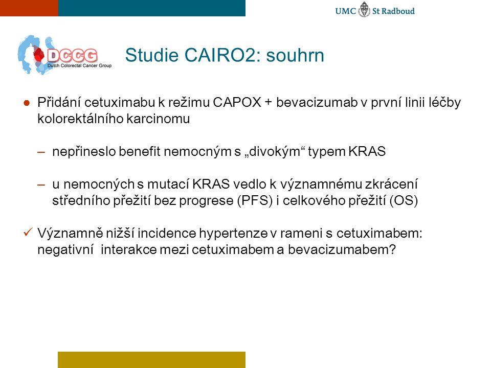 Studie CAIRO2: souhrn Přidání cetuximabu k režimu CAPOX + bevacizumab v první linii léčby kolorektálního karcinomu.
