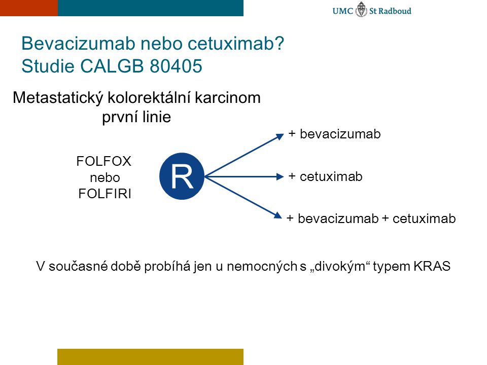 Bevacizumab nebo cetuximab Studie CALGB 80405