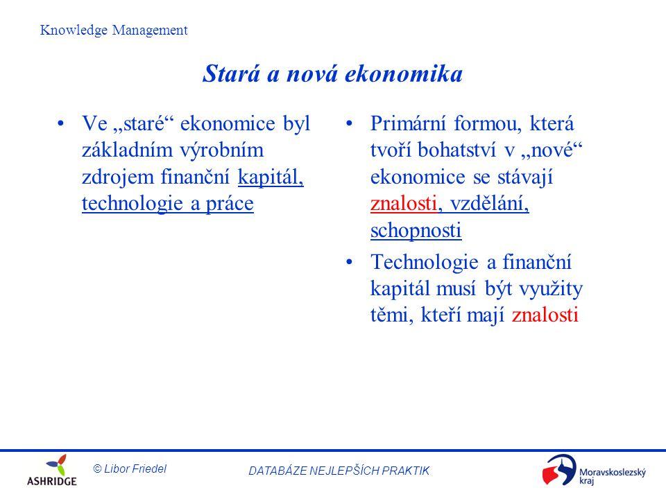 """Stará a nová ekonomika Ve """"staré ekonomice byl základním výrobním zdrojem finanční kapitál, technologie a práce."""