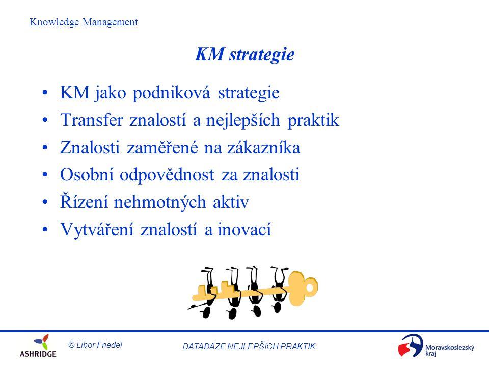 KM strategie KM jako podniková strategie. Transfer znalostí a nejlepších praktik. Znalosti zaměřené na zákazníka.