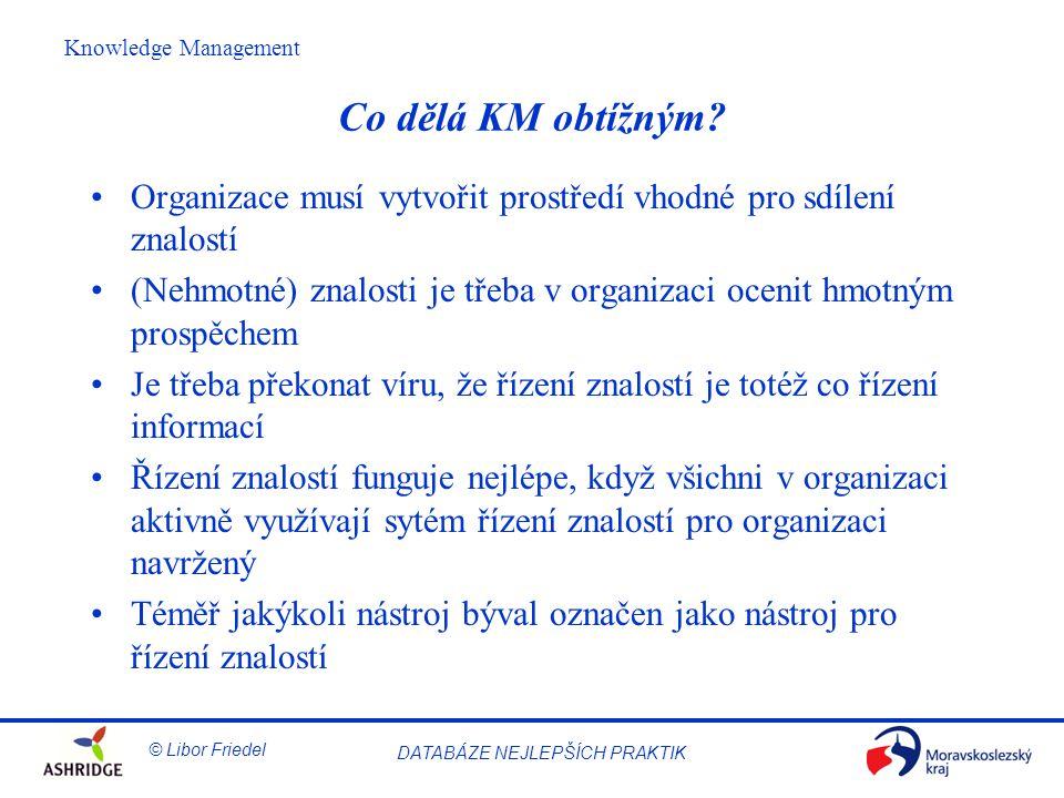 Co dělá KM obtížným Organizace musí vytvořit prostředí vhodné pro sdílení znalostí.