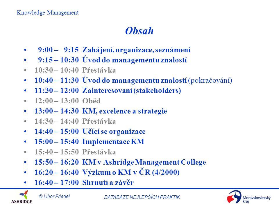 Obsah 9:00 – 9:15 Zahájení, organizace, seznámení