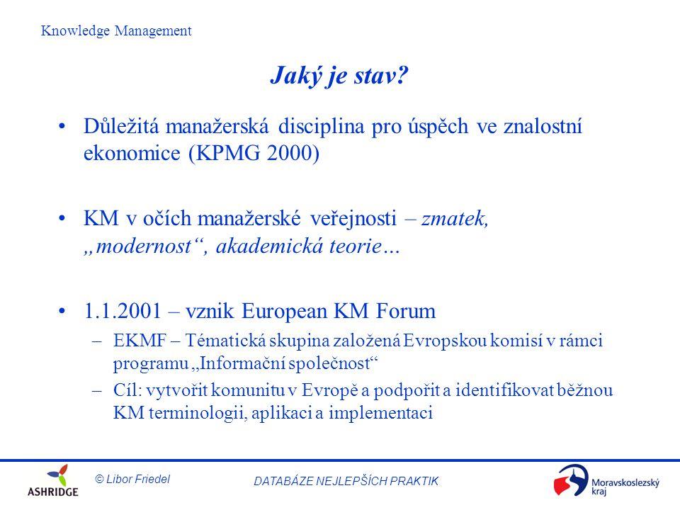 Jaký je stav Důležitá manažerská disciplina pro úspěch ve znalostní ekonomice (KPMG 2000)