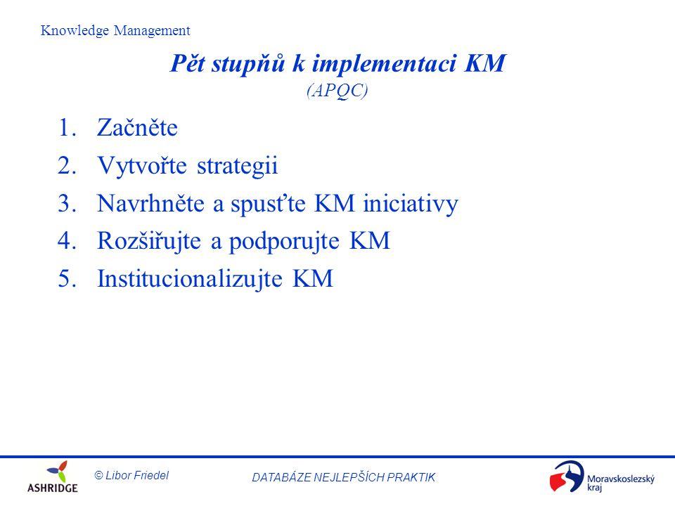 Pět stupňů k implementaci KM (APQC)