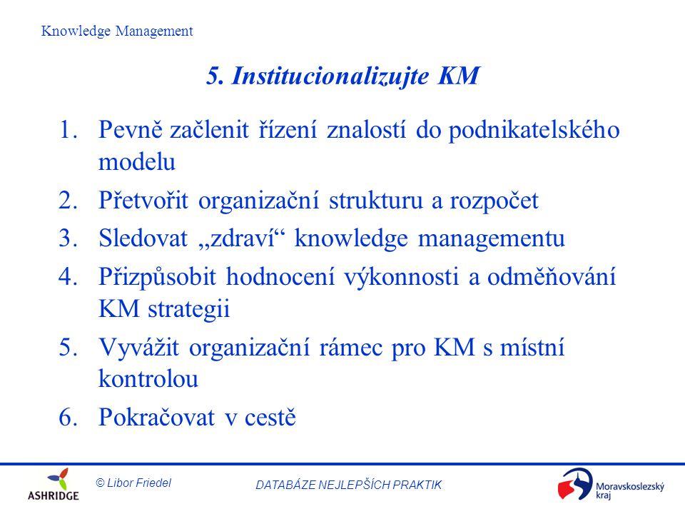 5. Institucionalizujte KM