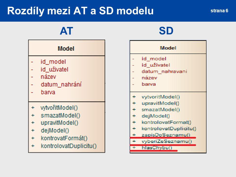 Rozdíly mezi AT a SD modelu