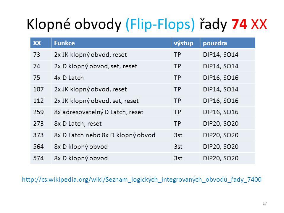 Klopné obvody (Flip-Flops) řady 74 XX