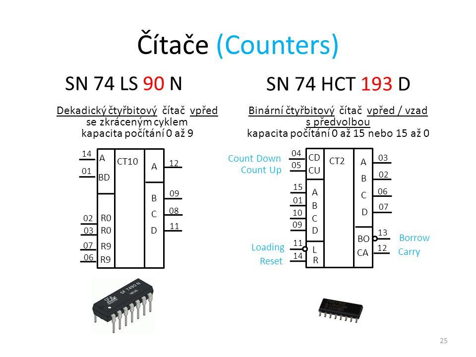 Čítače (Counters) SN 74 LS 90 N SN 74 HCT 193 D