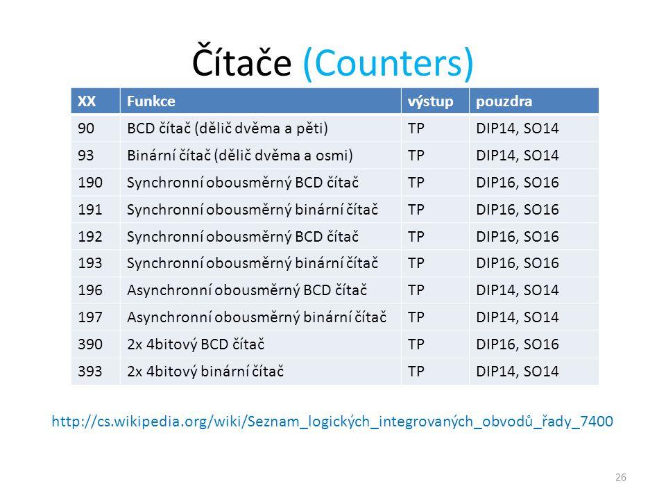 Čítače (Counters) XX Funkce výstup pouzdra 90